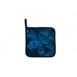 Bill Helin Poignées de four bleu et noir