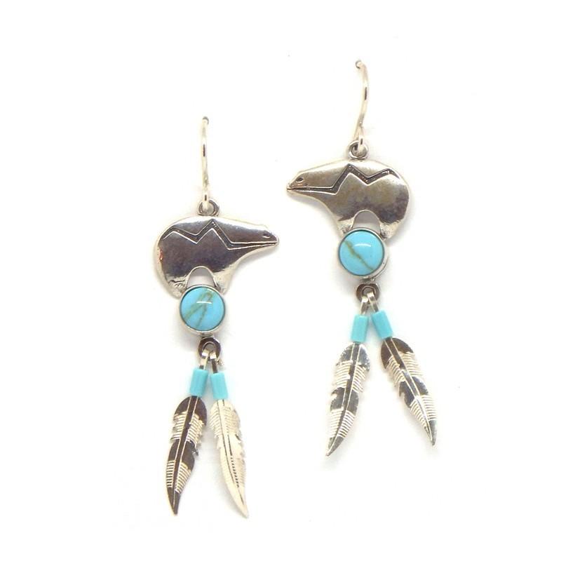 Bear/Feather Earrings