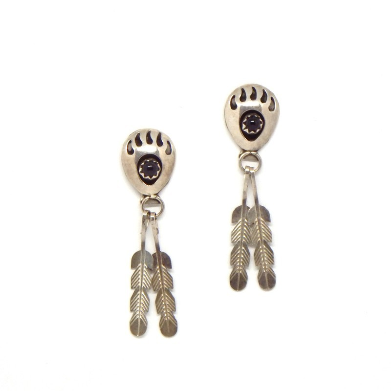 Bear Paws/Feather Earrings